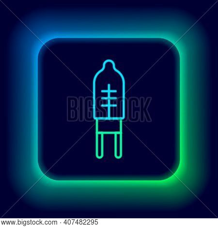 Glowing Neon Line Light Emitting Diode Icon Isolated On Black Background. Semiconductor Diode Electr