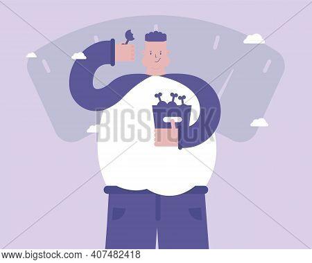 A Man Eats Junk Food. Obesity. Depression