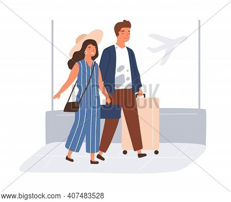 Happy Couple With Suitcases And Baggage In Airport. Young Man And Woman Going To Travel On Summer Ho