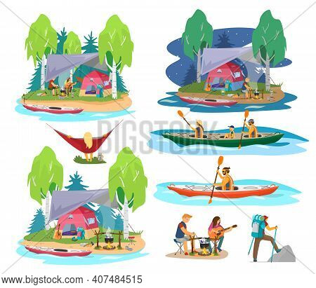Summer Camping Scenes In Flat Cartoon Style. Family Kayaking, Couple Near Camp Fire Cooking Soup And
