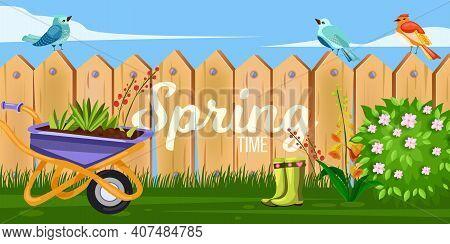Spring Garden Backyard Vector Illustration With Wooden Fence, Wheelbarrow, Green Blooming Bush, Flow