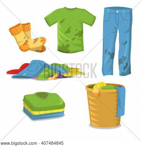 Dirty Clothes Laundry Steps. Jeans , Pants, Socks With Muds, Pile Of Clothes In Basket, Stack Of Cle