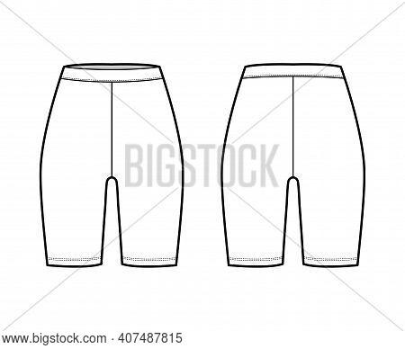 Bike Shorts Technical Fashion Illustration With Normal Waist, Rise, Thigh Length. Flat Sport Trainin