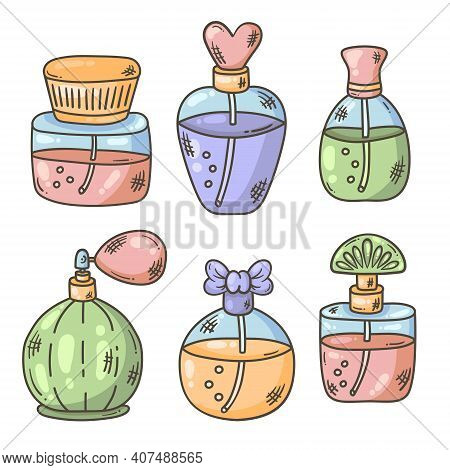 Parfum Bootles Doodle Icons Colorful Vector Set