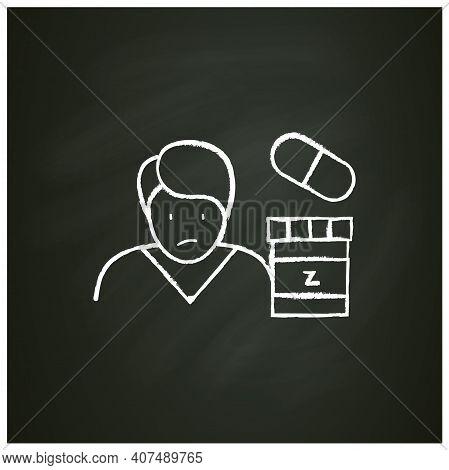 Sleep Pills Chalk Icon. Insomnia Treatment. Sleep Disorder. Healthy Sleeping Concept. Sleep Problems