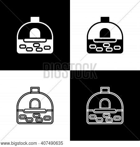 Set Brick Stove Icon Isolated On Black And White Background. Brick Fireplace, Masonry Stove, Stone O