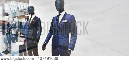 Wide Advertisement Shopping Banner - Template Of A Storefront With Fashionable Suits For Men Present