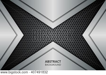 Abstract Background With Metallic Geometric Shapes On Carbon Fiber. Carbon Textured Pattern With Met