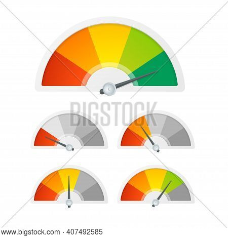 Realistic Detailed 3d Level Indicator Set On A White. Vector Illustration Of Color Dial Rating Meter