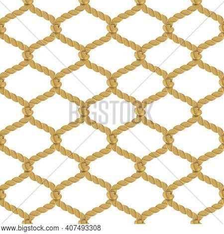 Associated Twisted Ropes Net With Rhombic Cell Realistic Color Decorative Seamless Pattern Vector Il