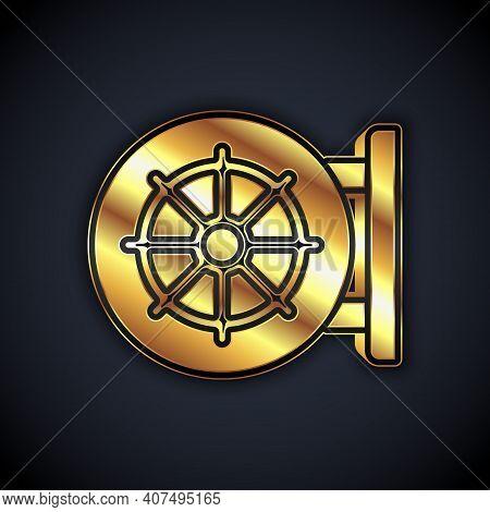 Gold Dharma Wheel Icon Isolated On Black Background. Buddhism Religion Sign. Dharmachakra Symbol. Ve