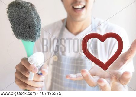 Asian Male Inspector Smile To Cleaning Staff In Bathroom Disinfectant Sprayers And Germs  Metaphor F