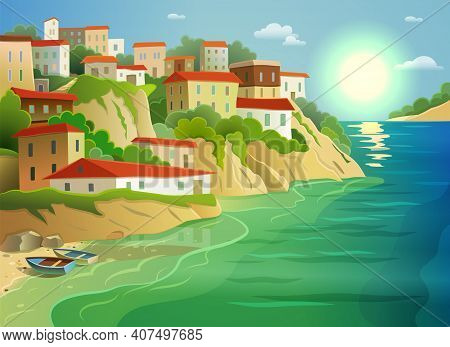Picturesque Coastal Living Village Cottages On Steep Island Shore Decorative Poster With Fishing Boa