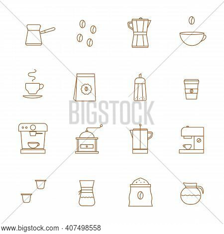 Coffee Related Vector Line Icons Vector Set. Coffee Shop Barista Equipment. Grinder, Pour Over Brewe