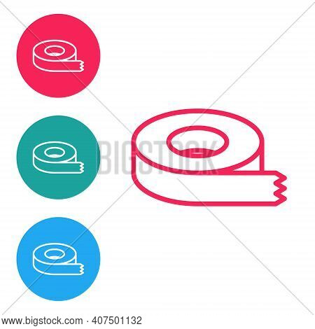 Red Line Scotch Tape Icon Isolated On White Background. Insulating Tape. Set Icons In Circle Buttons