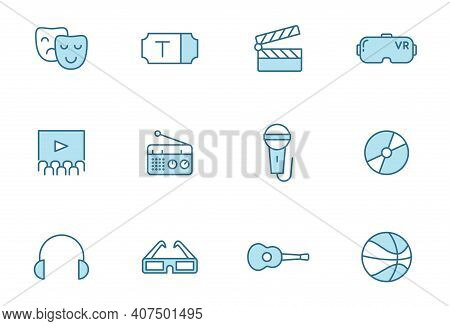 Entertainment Linear Vector Icons In Two Colors Isolated On White Background. Entertainment Blue Ico