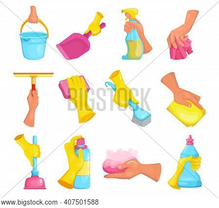 Cartoon Hand Of Cleaner Set. Arm Wearing Rubber Glove, Holding Brush, Soap, Detergent Bleach Bottle,