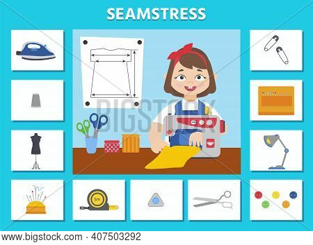 Game For Kids. Seamstress. Profession Cards. Preschool Worksheet Activity. Children Funny Riddle Ent