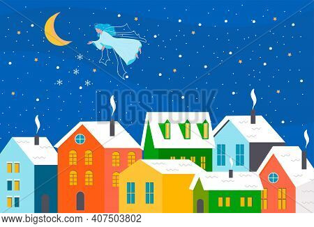 Christmas Town Landscape. Happy New Year. Winter Holidays In The City Panorama. Angel. Snow Winter C