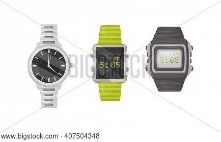 Wristwatch As Portable Timepiece With Watch Strap Worn Around The Wrist Vector Set