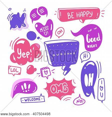 Doodle Set Of Speech Bubbles With Dialog Text Hi, Love, Yep, Welcome, Ok. Comic Hand Drawn Sketch St