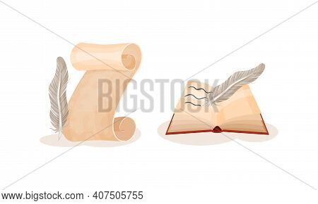 Book In Hard Cover With Paper Pages And Scroll Or Curved Manuscript With Quill Vector Set