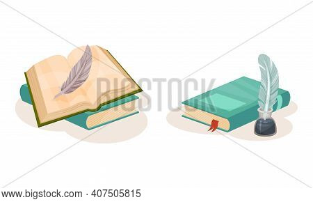 Pile Of Old Books In Hard Cover With Quill For Writing Vector Set