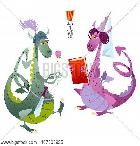 Two Fairy-tale Dragons. Diada De Sant Jordi (the Saint George's Day). Traditional Festival In Catalo