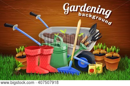 Colorful Gardening Background With Farm Tools Handcart Rubber Boots Watering Can And Pots With Seedl