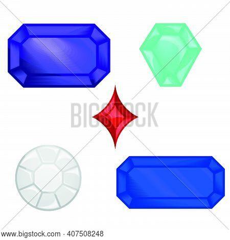 Vector Illustration Diamonds And Precious Gems, Precious Stones, All On White Background