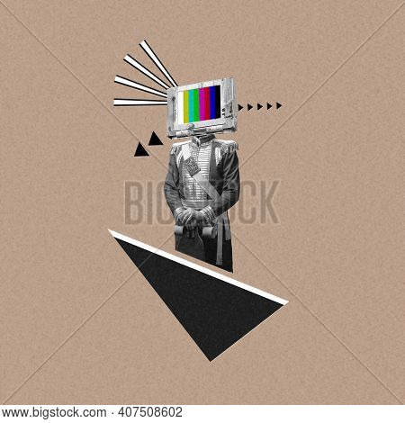 New Ideas. Renaissanse Man Headed By Old Tv Isolated On Background. Negative Space To Insert Your Te