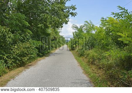 An Unmarked Cycle Lane In Rural Friuli-venezia Giulia, North East Italy, Near Cividale Del Friuli