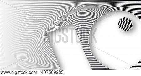 Banner Abstract Wave Striped Geometric White And Gray Color Gradient Background. Wavy Lines In Paper