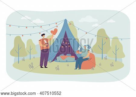Cheerful Couple Camping Together On Nature Isolated Flat Vector Illustration. Cartoon Man And Woman