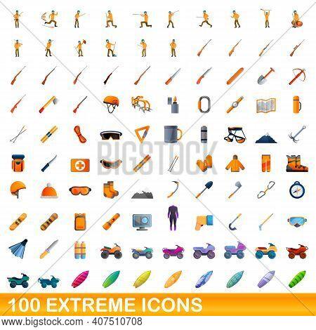 100 Extreme Icons Set. Cartoon Illustration Of 100 Extreme Icons Vector Set Isolated On White Backgr