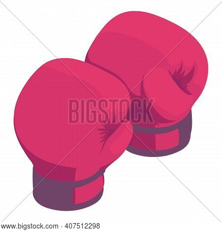 Boxing Gloves Icon. Isometric Of Boxing Gloves Vector Icon For Web Design Isolated On White Backgrou