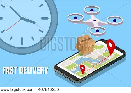 Fast Drone Delivery Boxes, Packaging, Illustration Concept Of Modern Delivery, Drone Control.