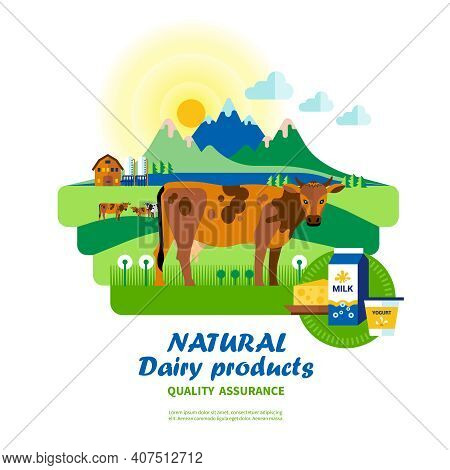 Natural Dairy Products Quality Assurance With Cow On Pasture In Center Of Scene Vector Illustration