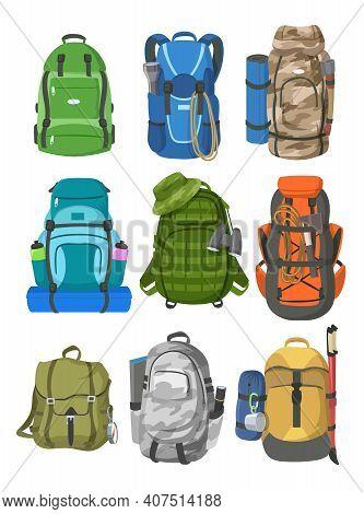 Camping Backpacks Set. Big Rucksacks With Equipment For Hiking, Mountain Trekking, Climbing Sport Is