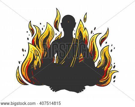 Burning In Fire Flame Meditating Monk Color Sketch Engraving Vector Illustration. T-shirt Apparel Pr