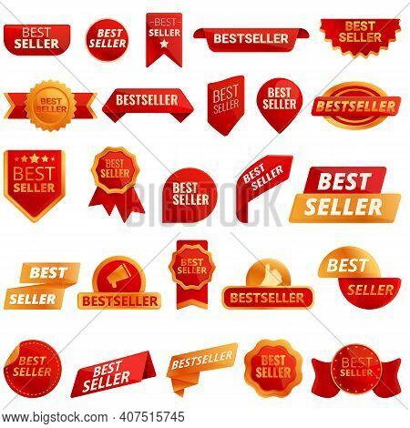 Best Seller Icons Set. Cartoon Set Of Best Seller Vector Icons For Web Design