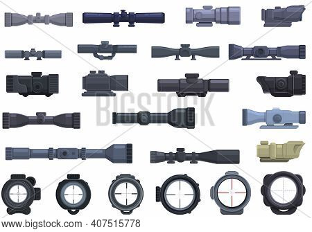 Telescopic Sight Icons Set. Cartoon Set Of Telescopic Sight Vector Icons For Web Design