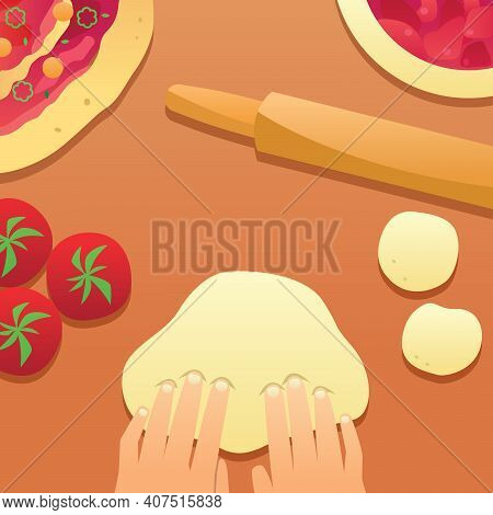 Cartoon Illustration Of Rolling And Sculpting Pizza Dough With Red Tomatoes And Delicious .