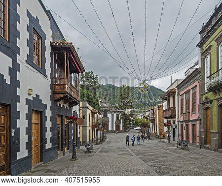 Teror, Gran Canaria, Canary Islands, Spain December 21, 2020: Main Street Of Beautiful Historic Town