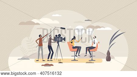 Journalism In Television With Live Interview Broadcasting Tiny Person Concept