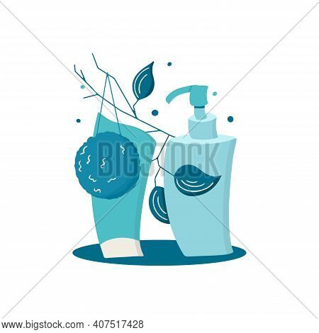 Monochrome Cosmetic Set Of Face Cleansers. Hand Drawn Vector Illustration Of Bottles With Cleansing