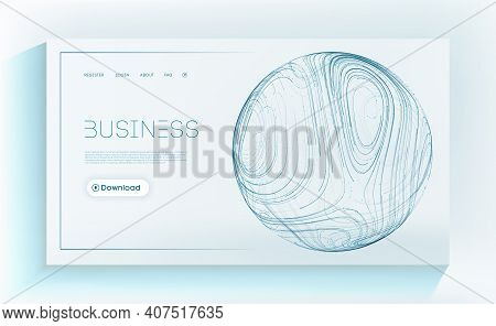 Business Technology Background. Blue Sphere Shield Mesh Vector. Presentation Cover In Blue Color. In