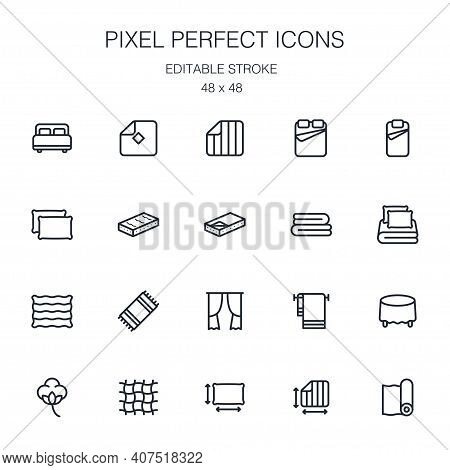 Home Textiles Collection Of Outline Icons Collection With Linens, Towel, Mattress, Curtain, Tableclo