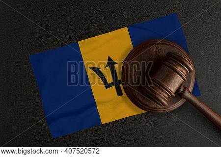 Judges Hammer And The Flag Of Barbados. Law And Justice. Constitutional Law.