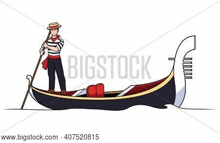 Cartoon Illustration With Gondolier Paddling Gondola Along Venetian Channel.